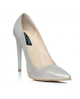 Pantofi Stiletto Piele Argintiu C1  - orice culoare