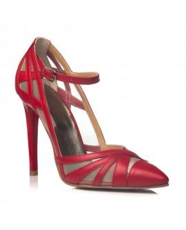 Pantofi Dama Piele Stiletto  Rosu Cathy - orice culoare