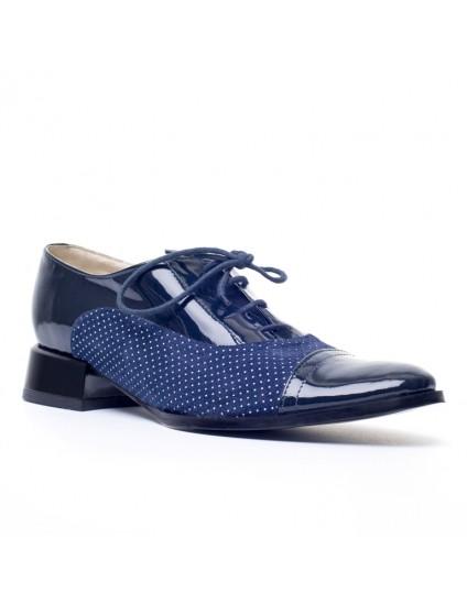 Pantofi Oxford Combi piele bleumarin Buline - orice culoare