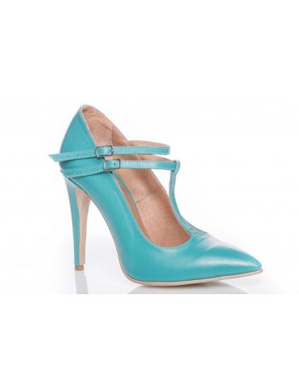 Pantofi Stiletto piele PP1 cu bareta turcoaz - orice culoare