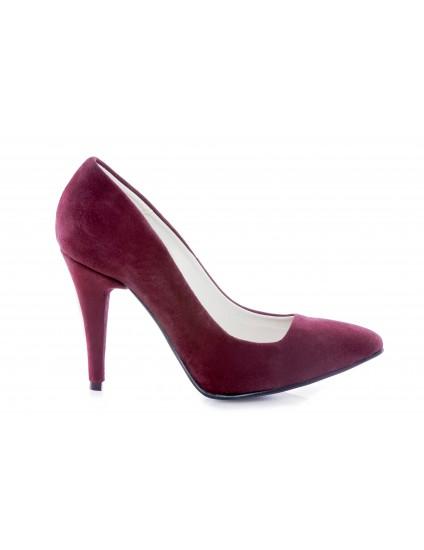 Pantofi Mini Stiletto piele intoarsa visinu - pe stoc