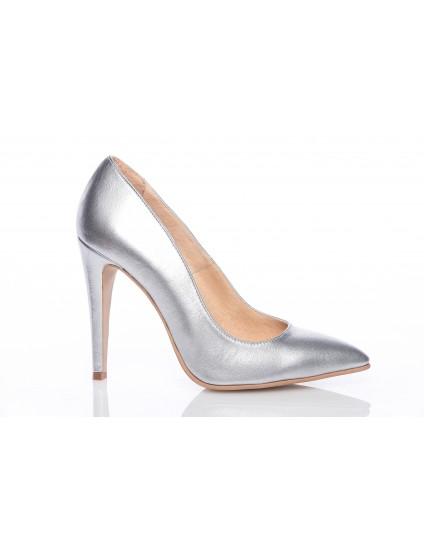 Pantofi Stiletto piele argintiu  PP1 - orice culoare
