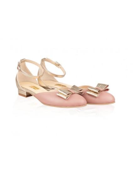 Balerini piele roze-auriu Kiss N20 - orice culoare