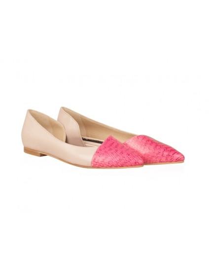 Balerini piele roz/albastru Candy N15 - orice culoare