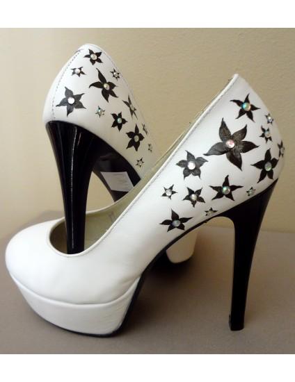 Pantofi Lindi piele naturala pictati manual model 2.1