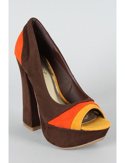 Pantofi decupati Nane, maro/portocaliu/galben
