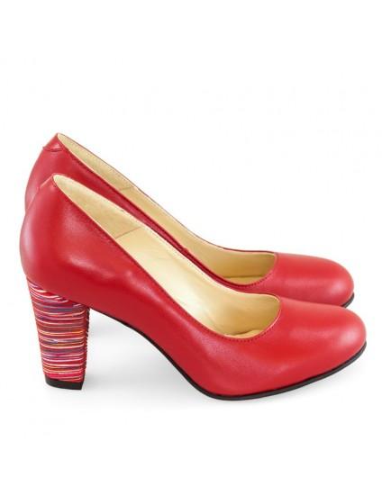 Pantofi Piele Rosu Office Chic D22 - orice culoare