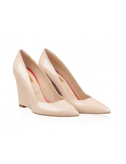 Pantofi Piele cu Platforma Crem N20 - pe stoc