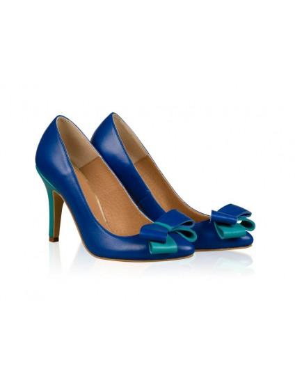 Pantofi Stiletto Piele Albastru Funda Chic N20 - orice culoare