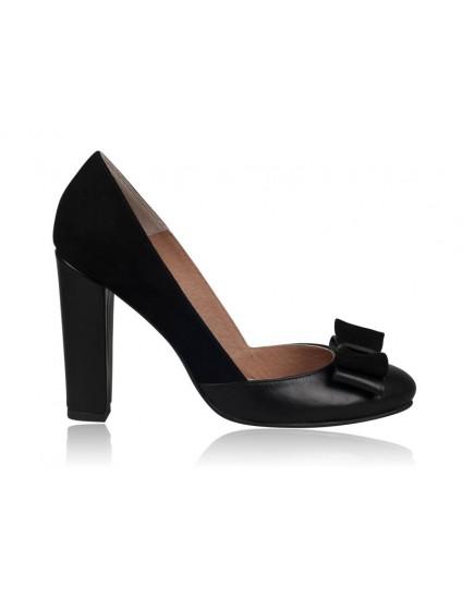 Pantofi dama piele Retro N1 Negru Funda- orice culoare