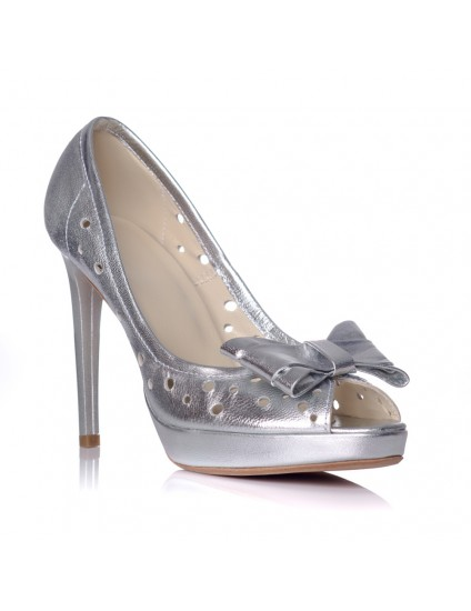 Pantofi Rimi  piele naturala argintiu - pe stoc