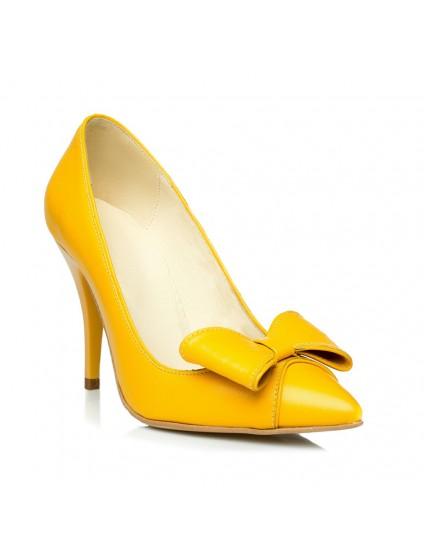 Pantofi Stiletto Fundita piele Galben C18  - orice culoare