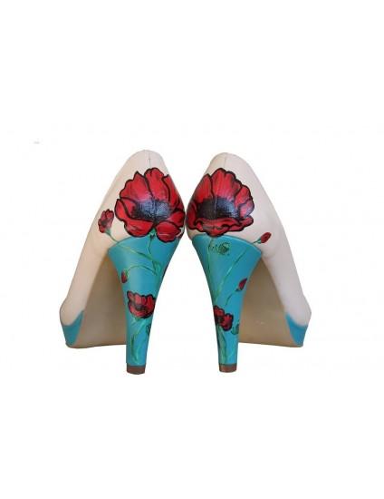 Pantofi pictati manual Blue Heels - orice culoare