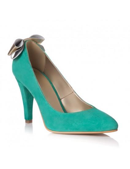 Pantofi Piele Intoarsa Verde Funda Spate L31 - orice culoare