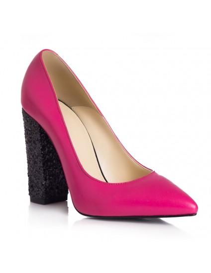 Pantofi Piele Fucsia Toc Glitter L26 - orice culoare
