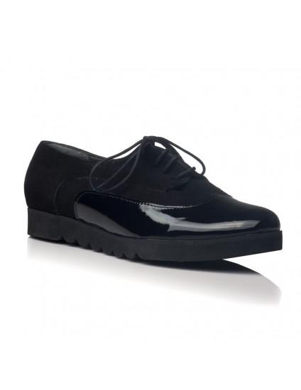 Pantofi piele Oxford  Duet Negru V20 - pe stoc