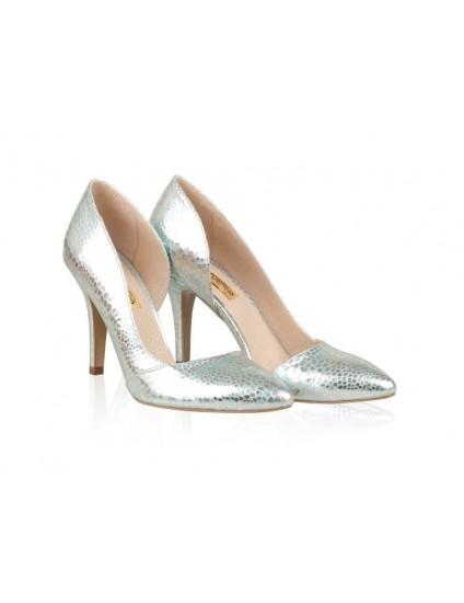 Pantofi Piele Stiletto Fancy Argintiu N30 - orice culoare
