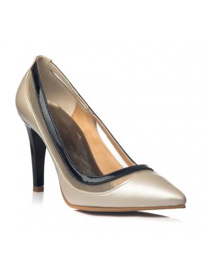 Pantofi Dama Piele Stiletto Relax Crem C33 - orice culoare