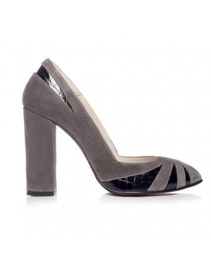 Pantofi Stiletto Toc Gros V1 Gri  - orice culoare