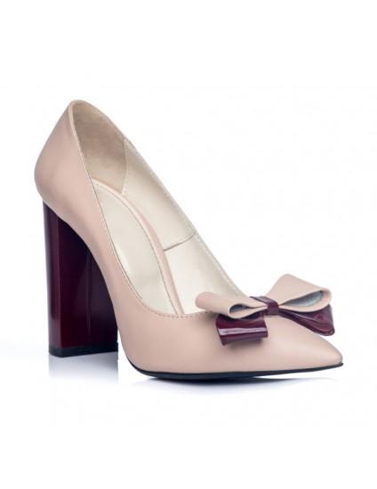 Pantofi Stiletto Toc Gros Nude S1 - orice culoare