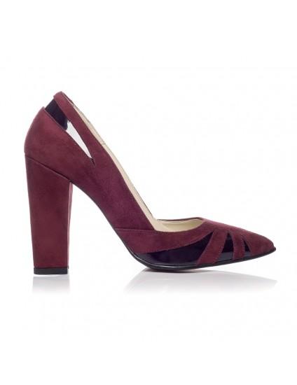 Pantofi Stiletto Toc Gros V1 Visiniu  - orice culoare
