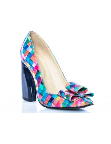 Pantofi piele Chic Madame Crook piele Multicolor