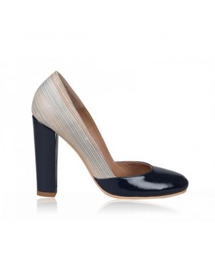 Pantofi dama piele box Retro N1 Bleumarin  - pe stoc