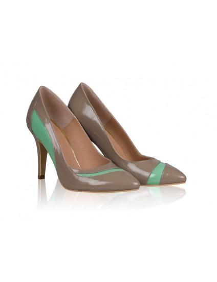 Pantofi stiletto piele lacuita capucino N8 - orice  culoare
