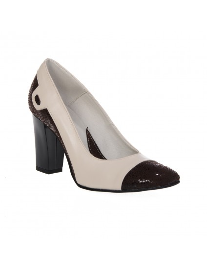 Pantofi dama piele Office 1 maro+portocaliu - pe stoc