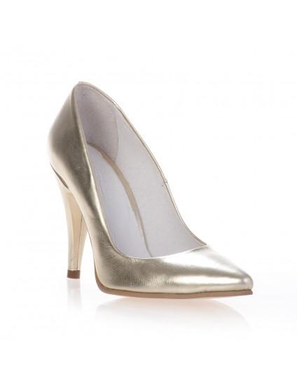 Pantofi Mini Stiletto Auriu  piele - pe stoc