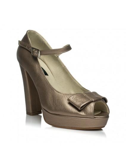 Pantofi Mini Tuxedo Bareta bronz piele - pe stoc