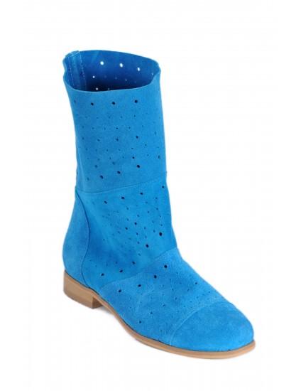 Cizme de vara scurte din piele naturala, albastru