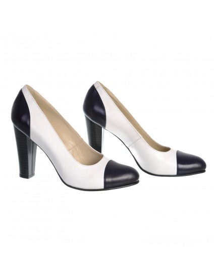 Pantofi Classy Combi piele naturala orice culoare-alb negru