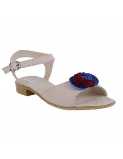 Sandale piele naturala Flower,disponibile pe orice culoare-alb