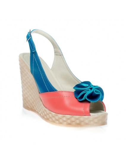 Sandale cu platforma Rufle Corai - pe stoc
