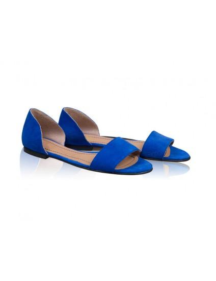 Sandale dama talpa joasa Chic - Piele naturala Albastru Electric