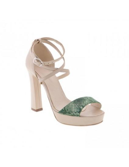 Sandale piele naturala Clara Verde/Crem  -  Orice culoare