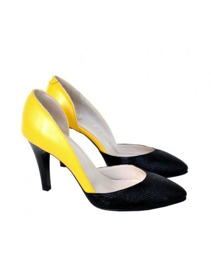 Pantofi Dama Piele Stiletto Galben D14 - orice culoare