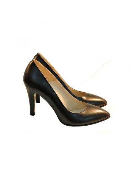 Pantofi stiletto Diva piele naturala maro - pe stoc