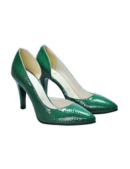 Pantofi Dama Piele Stiletto verde Croco D14 - pe stoc