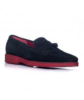 Pantofi barbati mocasini piele intoarsa negru - orice culoare