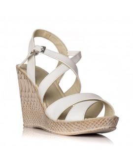 Sandale cu platforma piele alb Clarice - orice culoare